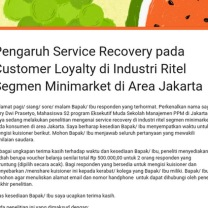 Pengaruh Service Recovery  pada Customer Loyalty di Industri Ritel Segmen Minimarket di Area Jakarta